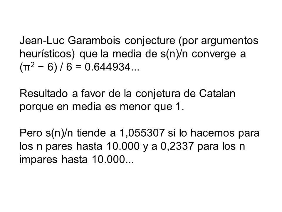 Jean-Luc Garambois conjecture (por argumentos heurísticos) que la media de s(n)/n converge a