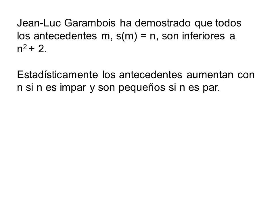 Jean-Luc Garambois ha demostrado que todos los antecedentes m, s(m) = n, son inferiores a