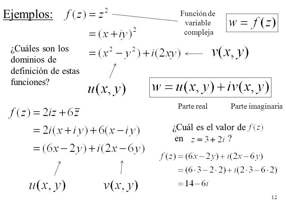 Ejemplos: ¿Cuáles son los dominios de definición de estas funciones