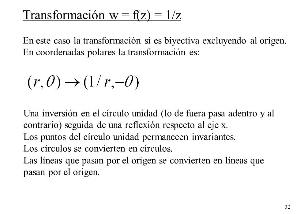Transformación w = f(z) = 1/z