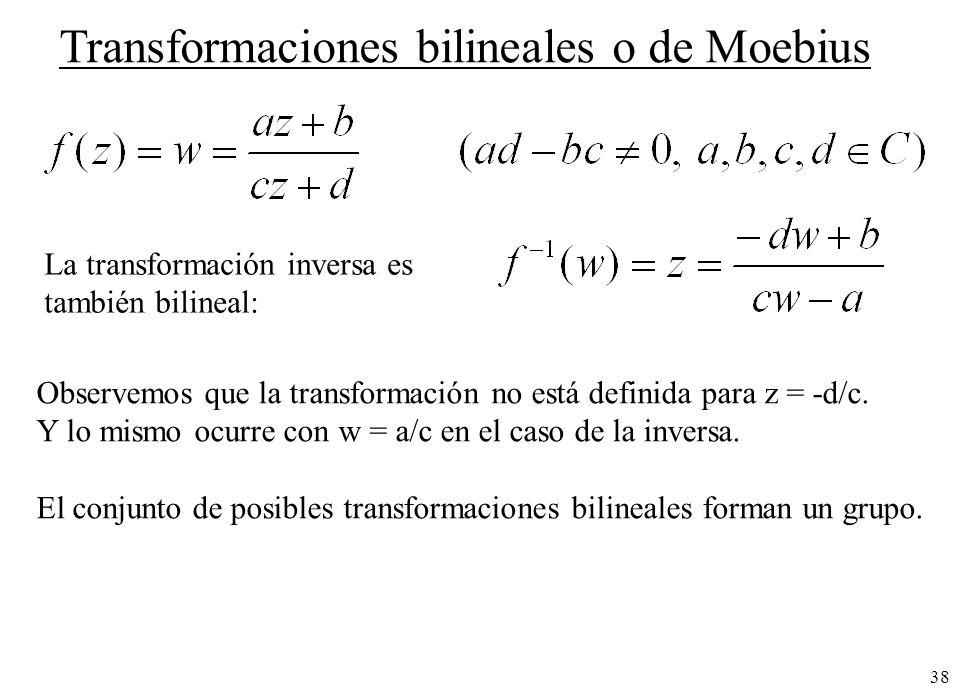 Transformaciones bilineales o de Moebius