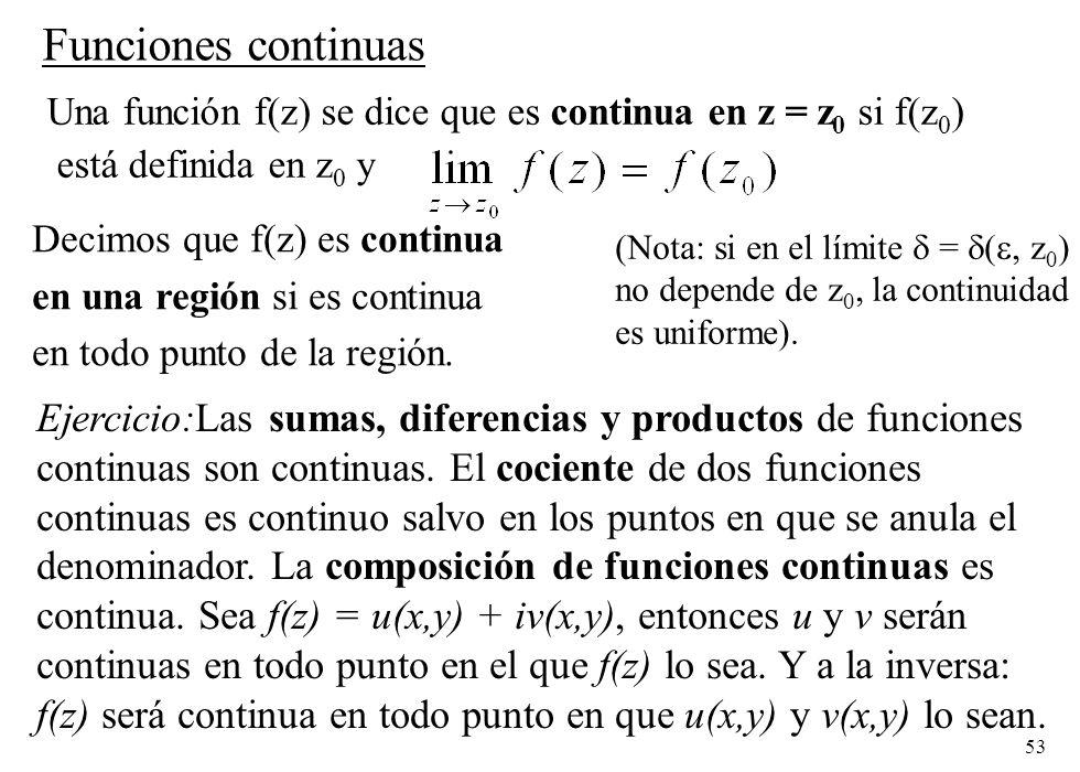 Funciones continuas Una función f(z) se dice que es continua en z = z0 si f(z0) está definida en z0 y.