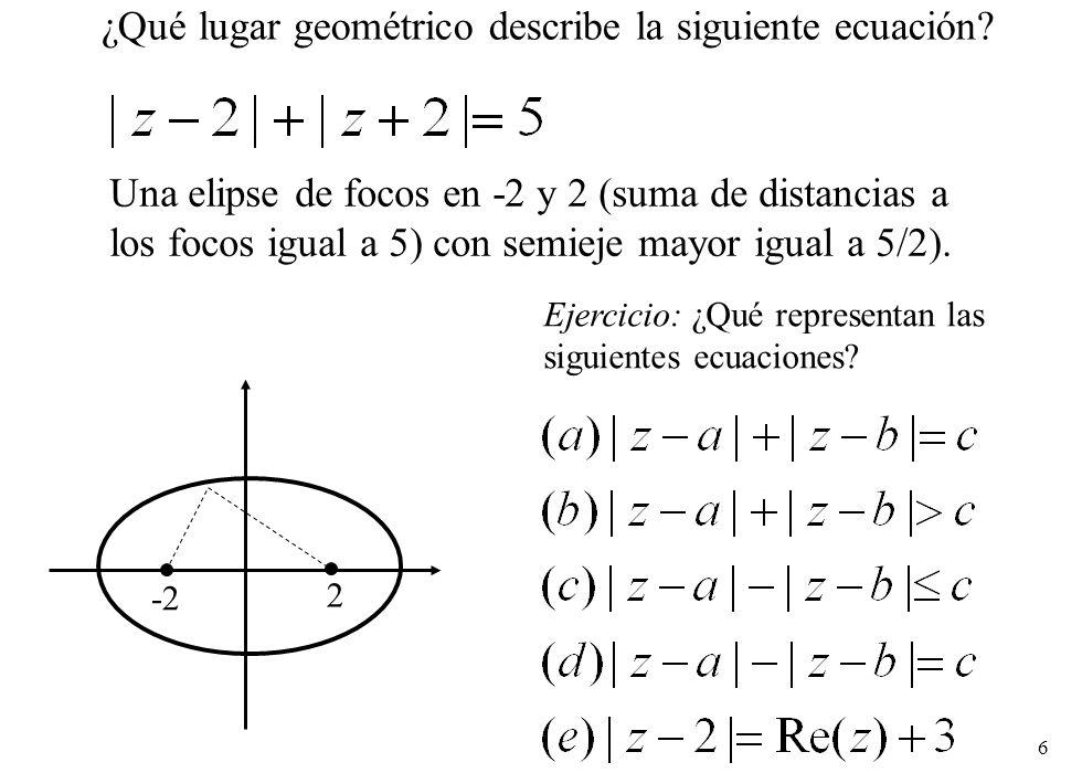 ¿Qué lugar geométrico describe la siguiente ecuación