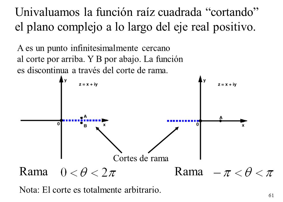 Univaluamos la función raíz cuadrada cortando