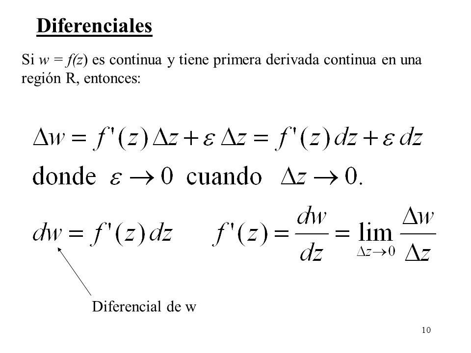 Diferenciales Si w = f(z) es continua y tiene primera derivada continua en una. región R, entonces: