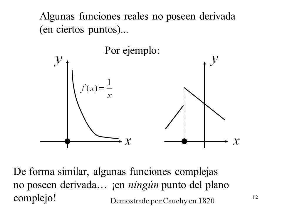 Algunas funciones reales no poseen derivada (en ciertos puntos)...