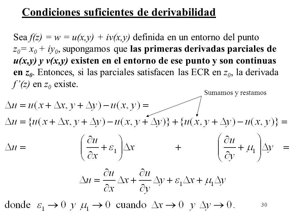 Condiciones suficientes de derivabilidad