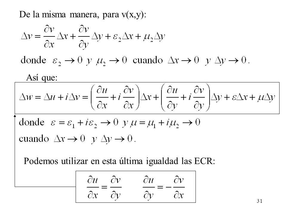De la misma manera, para v(x,y):