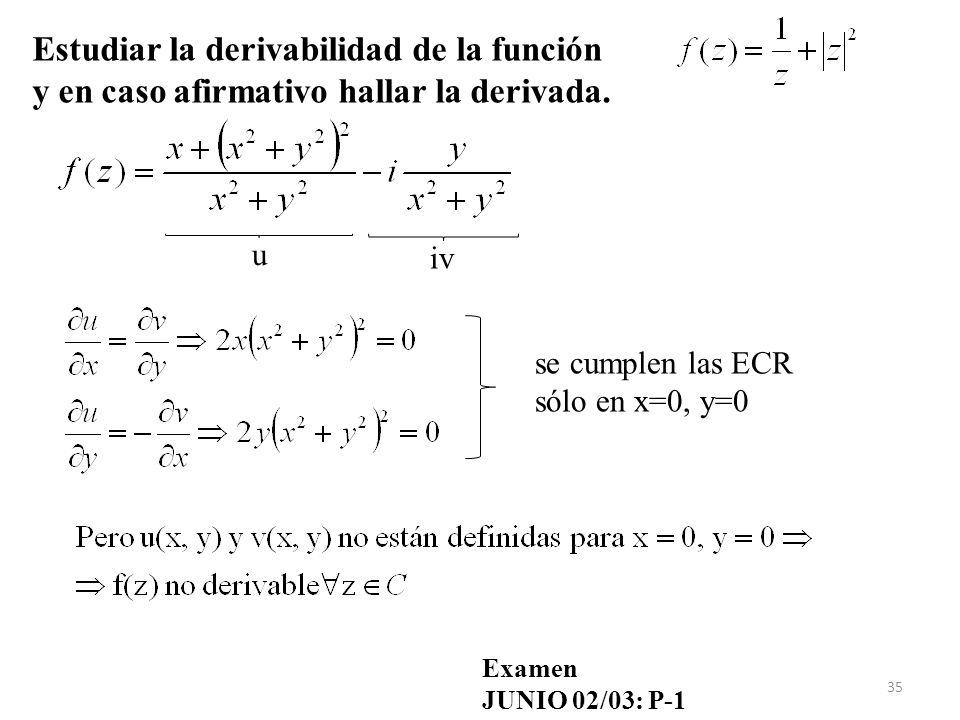 Estudiar la derivabilidad de la función