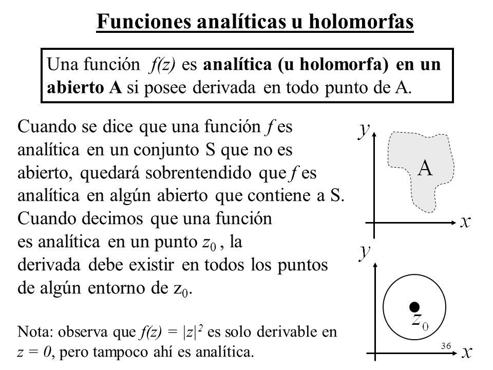 Funciones analíticas u holomorfas