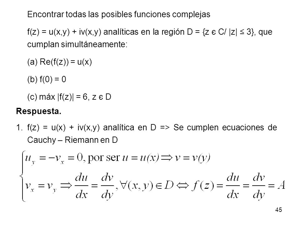 Encontrar todas las posibles funciones complejas