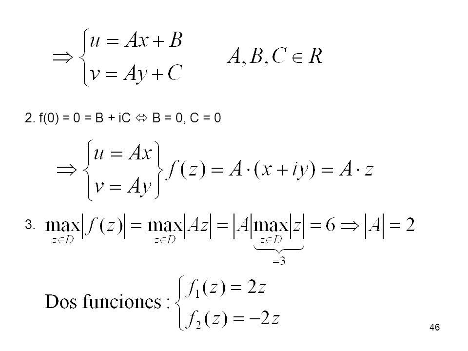 2. f(0) = 0 = B + iC  B = 0, C = 0 3.