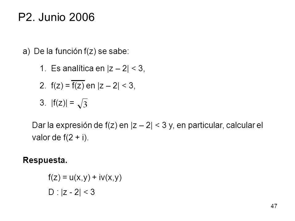 P2. Junio 2006 De la función f(z) se sabe: