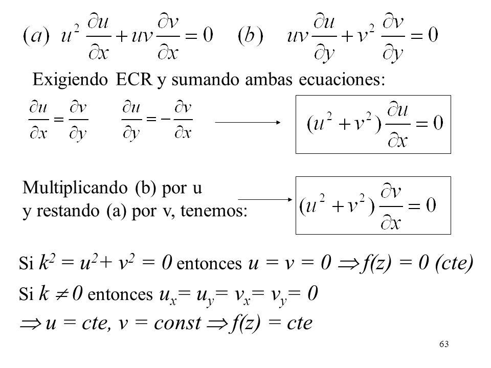  u = cte, v = const  f(z) = cte