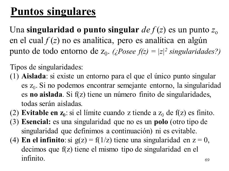 Puntos singulares Una singularidad o punto singular de f (z) es un punto zo. en el cual f (z) no es analítica, pero es analítica en algún.
