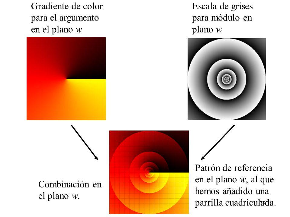 Gradiente de color para el argumento. en el plano w. Escala de grises. para módulo en. plano w.