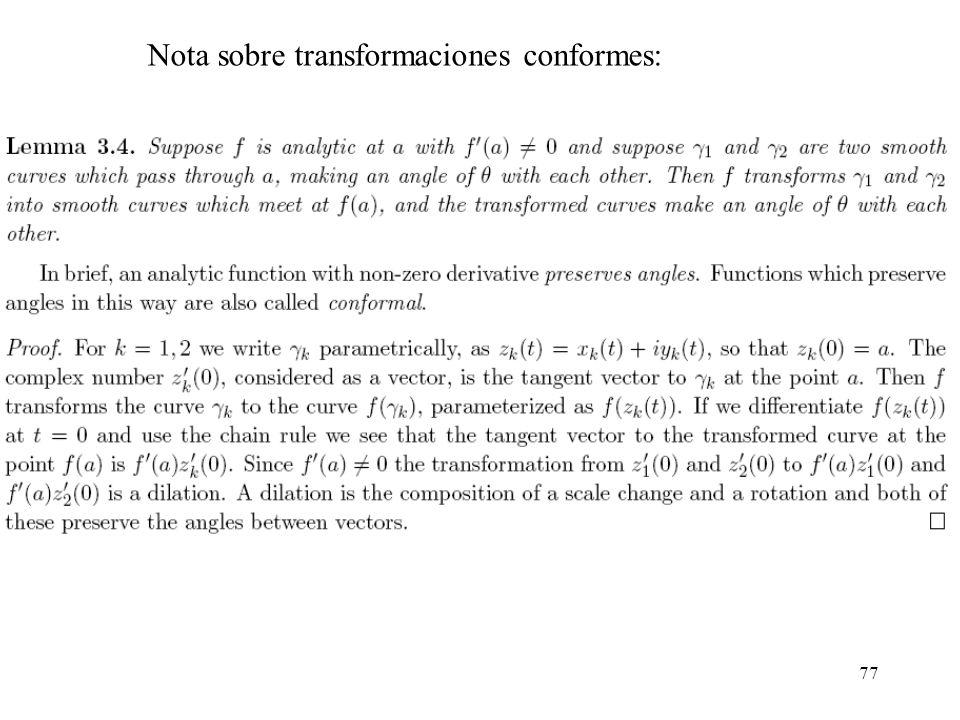Nota sobre transformaciones conformes:
