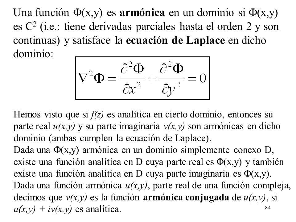 continuas) y satisface la ecuación de Laplace en dicho dominio: