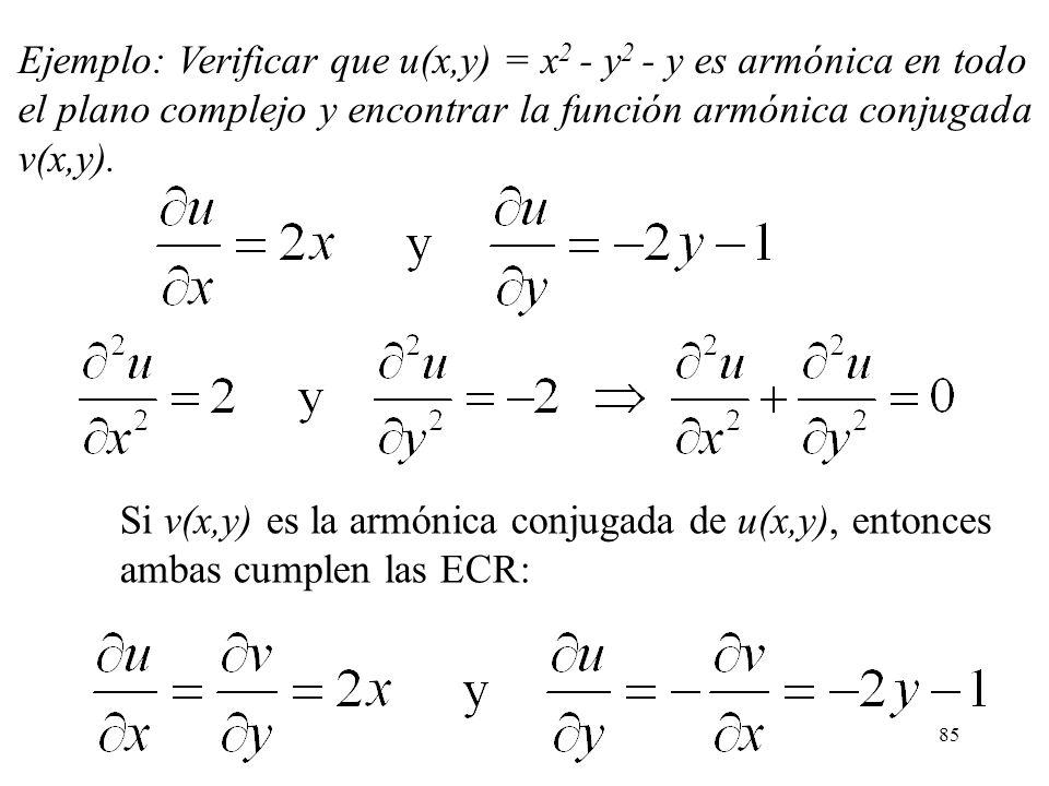 Ejemplo: Verificar que u(x,y) = x2 - y2 - y es armónica en todo