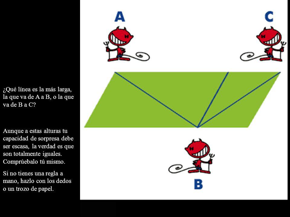 ¿Qué línea es la más larga, la que va de A a B, o la que va de B a C