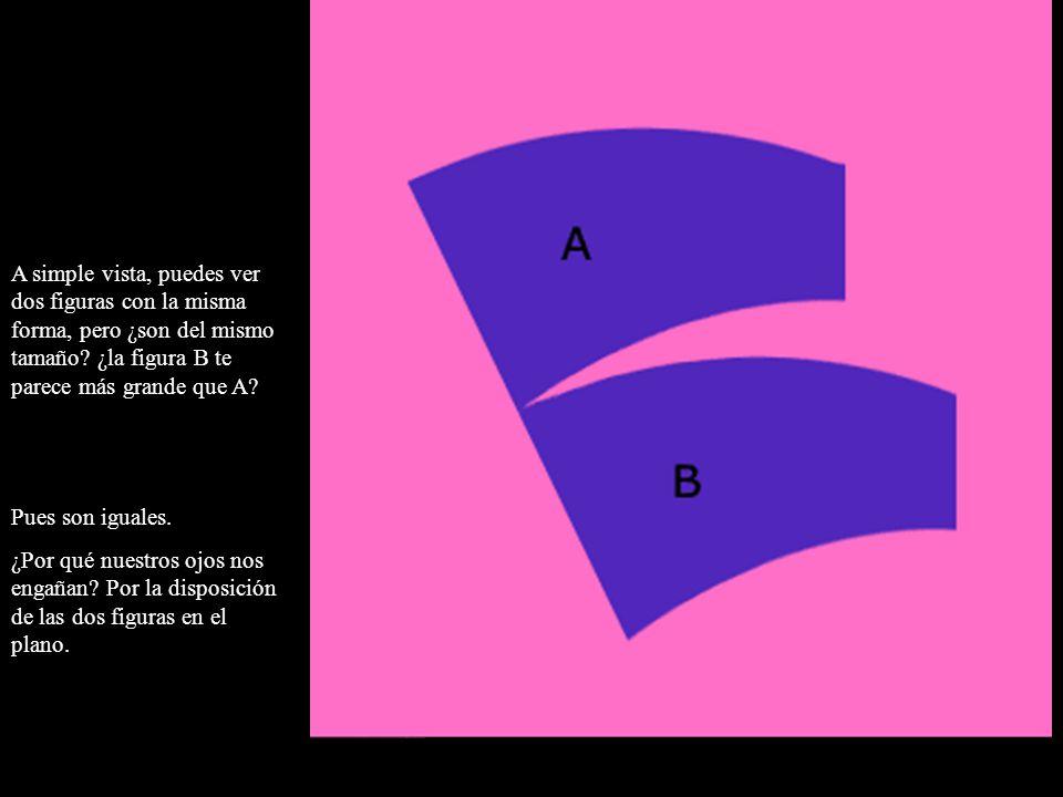 A simple vista, puedes ver dos figuras con la misma forma, pero ¿son del mismo tamaño ¿la figura B te parece más grande que A