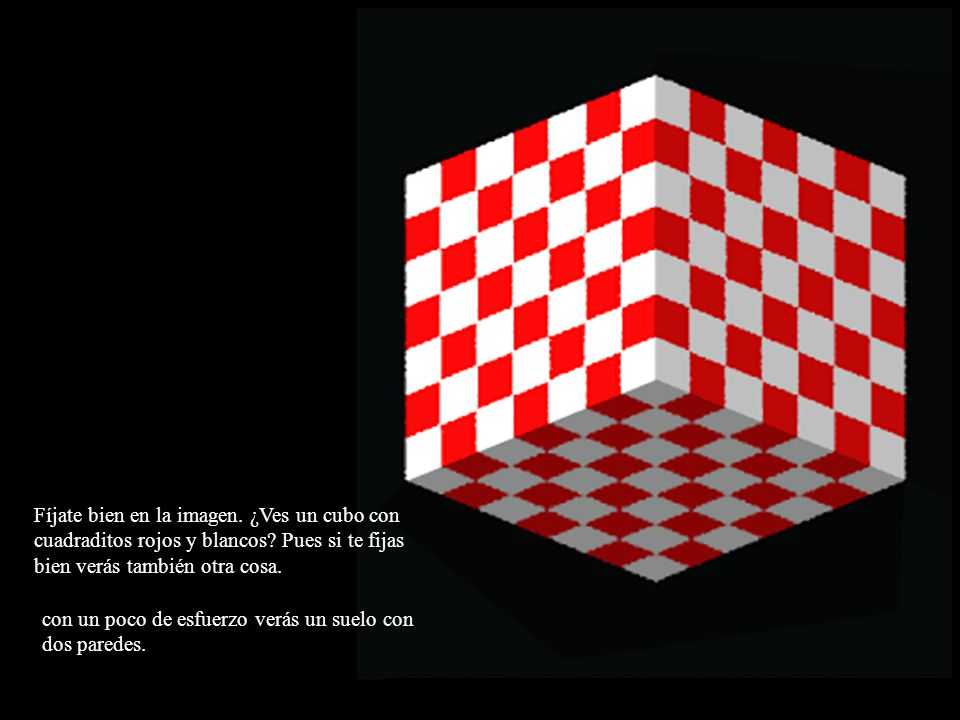 Fíjate bien en la imagen. ¿Ves un cubo con cuadraditos rojos y blancos