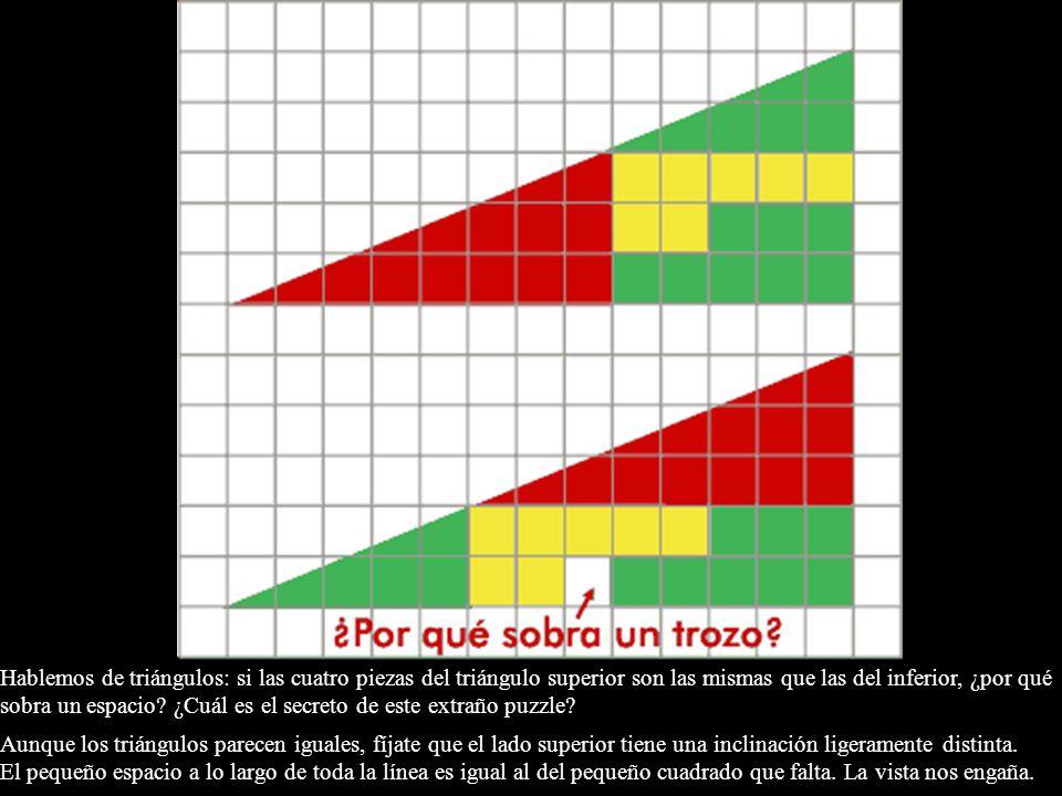 Hablemos de triángulos: si las cuatro piezas del triángulo superior son las mismas que las del inferior, ¿por qué sobra un espacio ¿Cuál es el secreto de este extraño puzzle