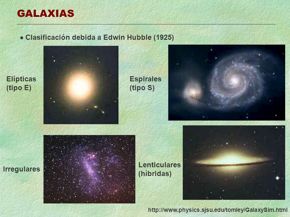 GALAXIAS  Clasificación debida a Edwin Hubble (1925) Elípticas