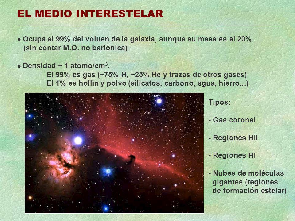 EL MEDIO INTERESTELAR  Ocupa el 99% del voluen de la galaxia, aunque su masa es el 20% (sin contar M.O. no bariónica)