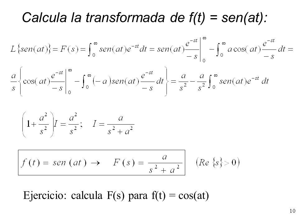 Calcula la transformada de f(t) = sen(at):