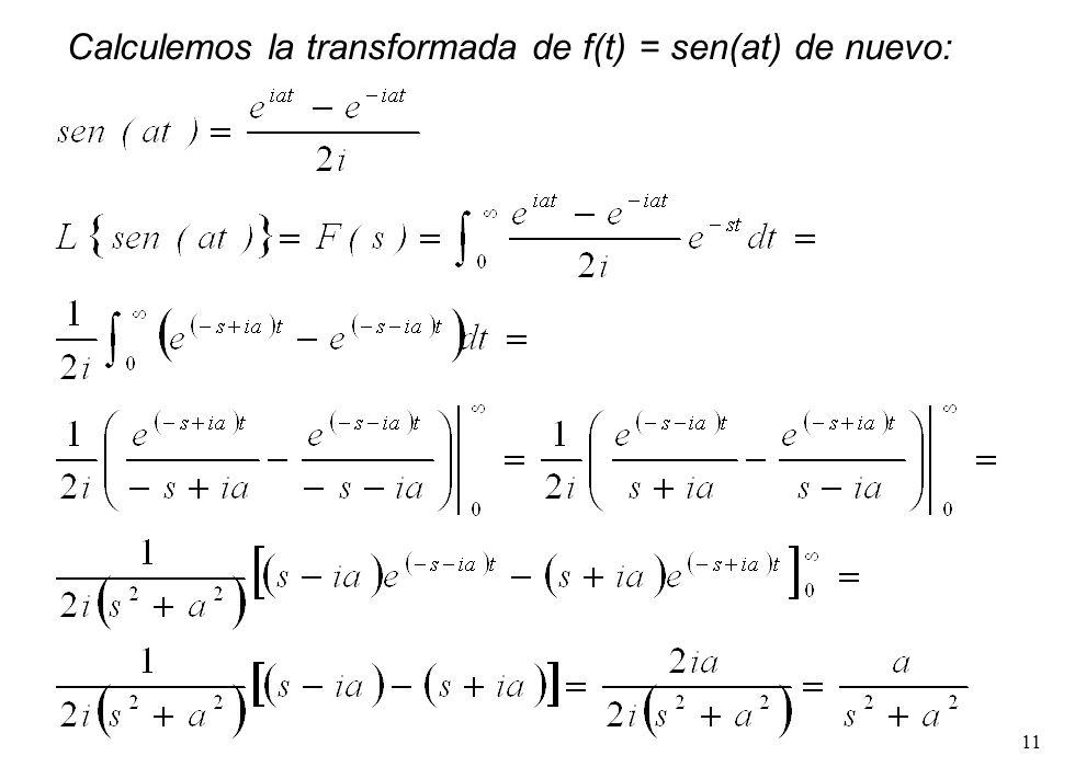 Calculemos la transformada de f(t) = sen(at) de nuevo: