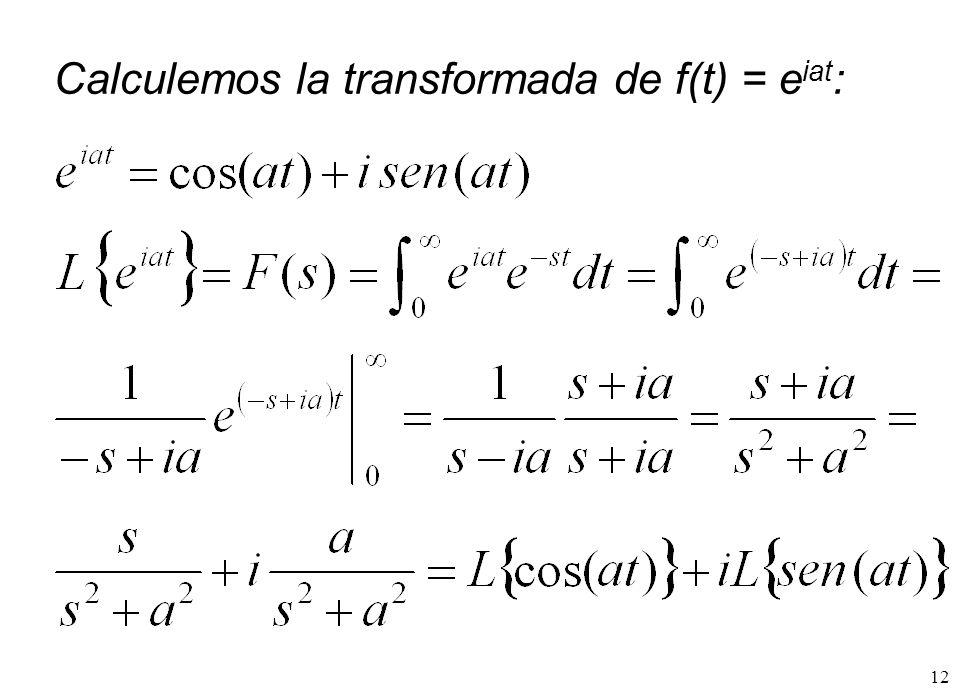 Calculemos la transformada de f(t) = eiat:
