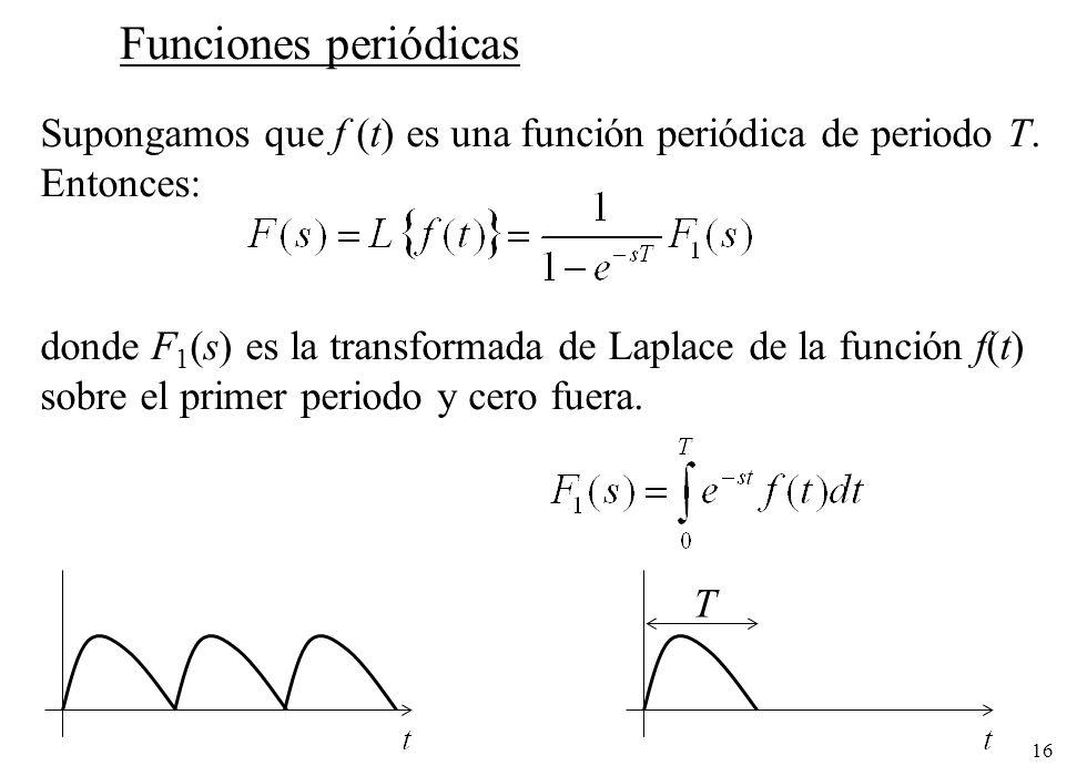 Funciones periódicas Supongamos que f (t) es una función periódica de periodo T. Entonces: