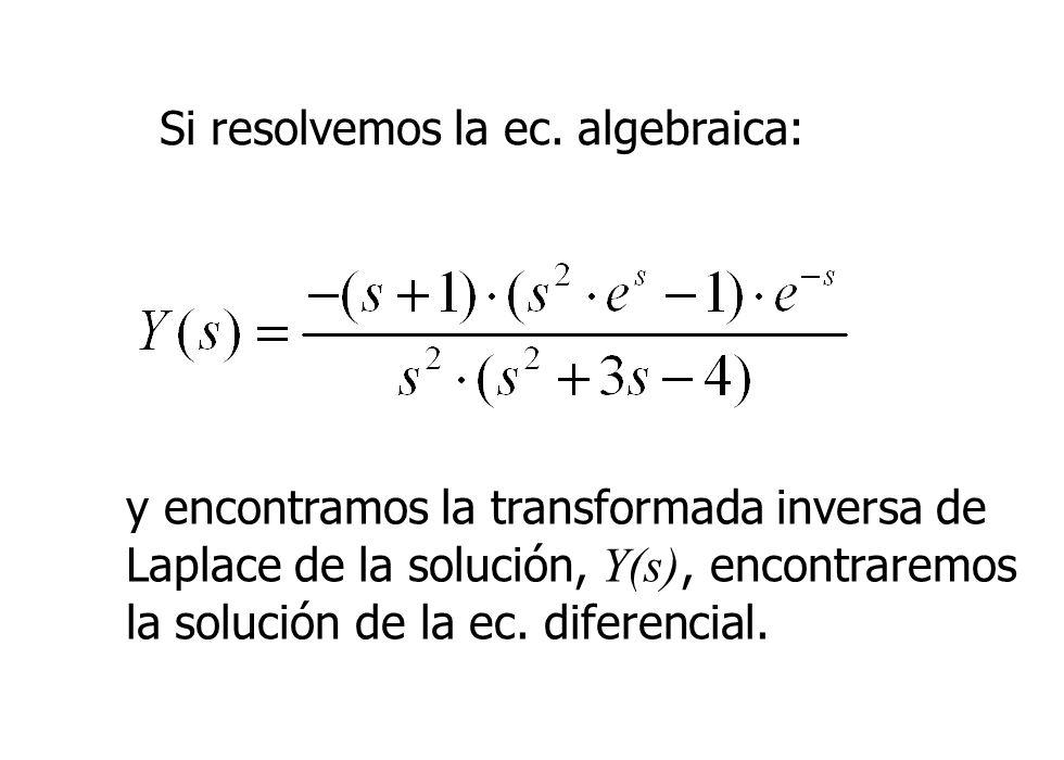 Si resolvemos la ec. algebraica: