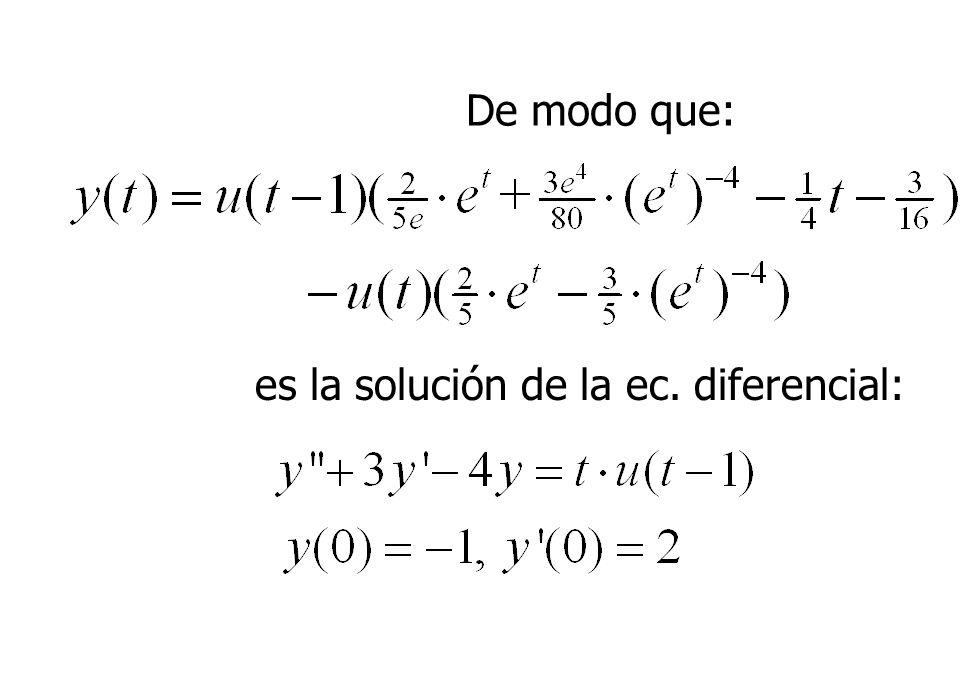 De modo que: es la solución de la ec. diferencial: