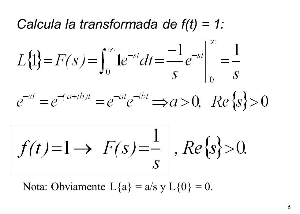 Calcula la transformada de f(t) = 1: