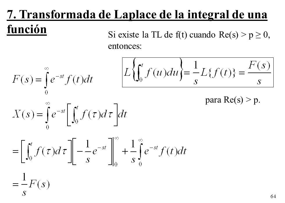 7. Transformada de Laplace de la integral de una función
