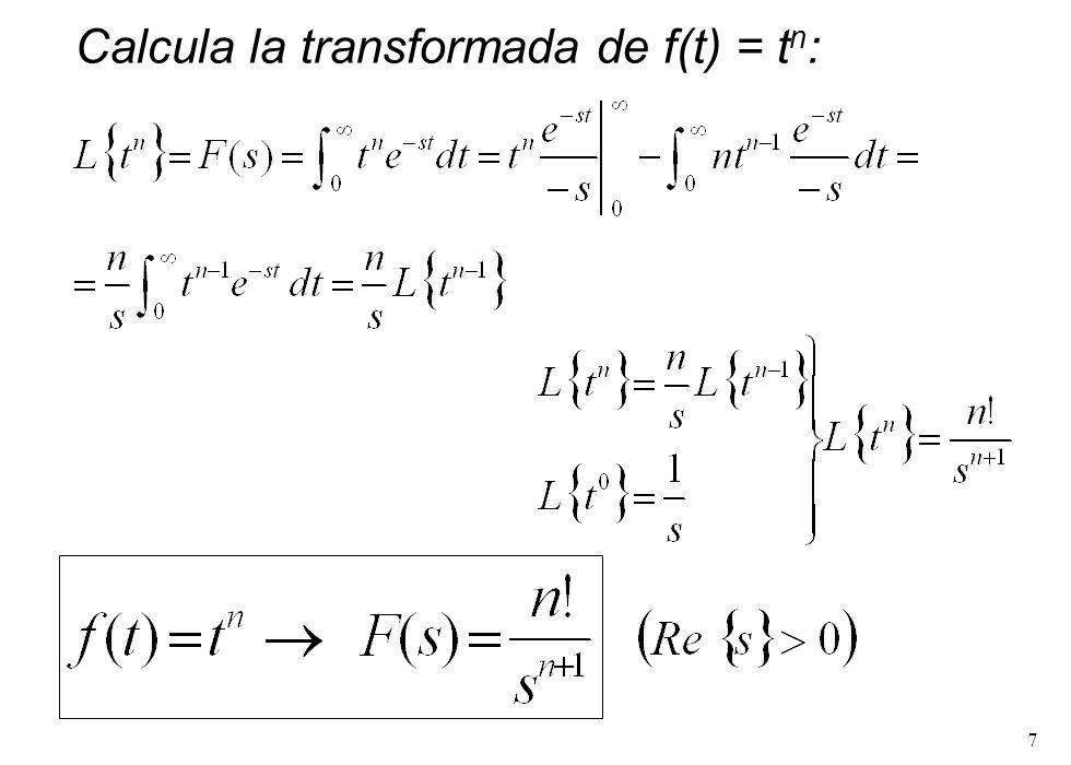 Calcula la transformada de f(t) = tn: