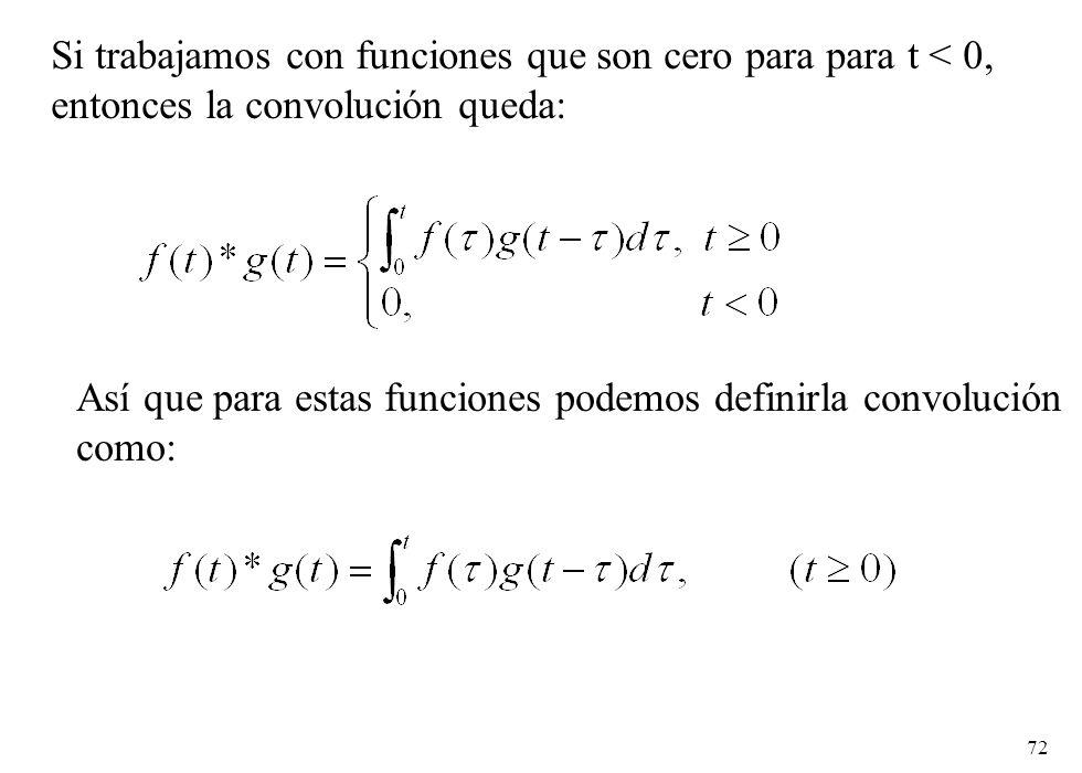 Si trabajamos con funciones que son cero para para t < 0,