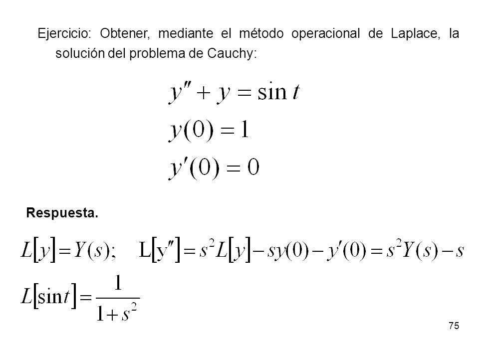 Ejercicio: Obtener, mediante el método operacional de Laplace, la solución del problema de Cauchy: