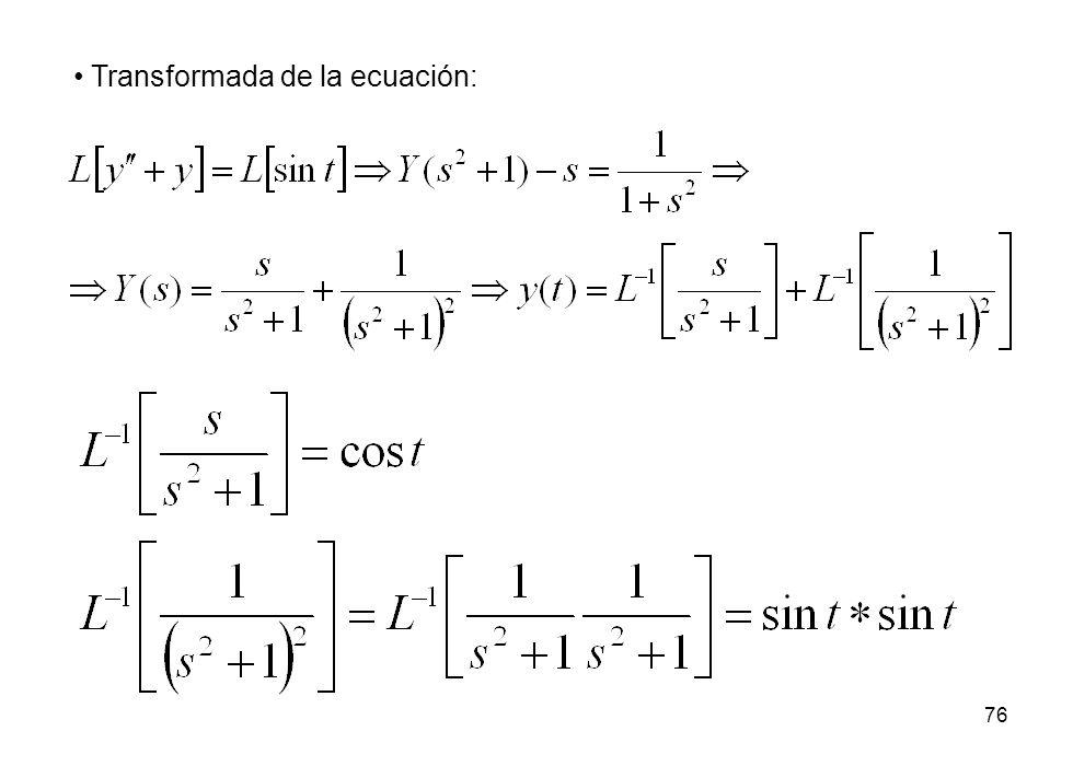 Transformada de la ecuación: