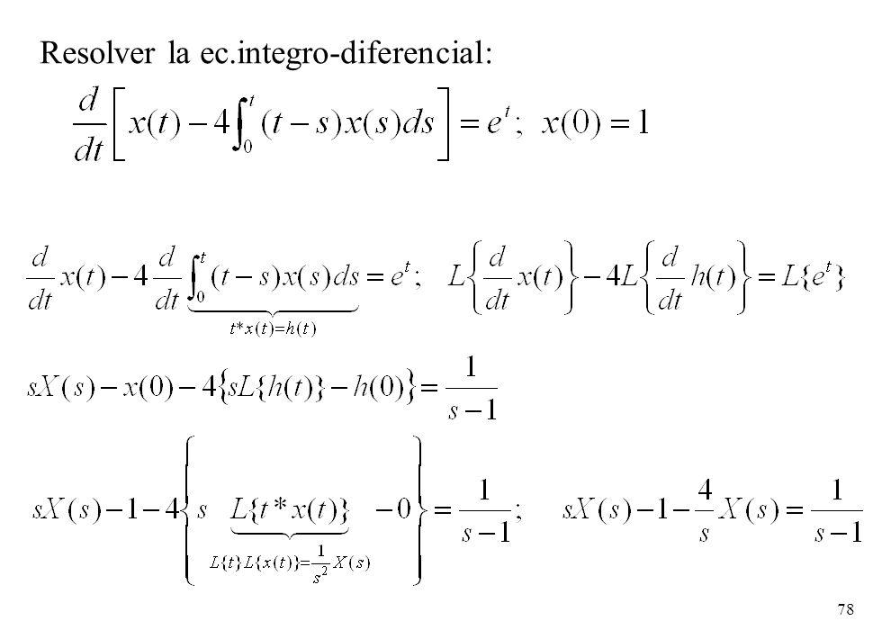 Resolver la ec.integro-diferencial: