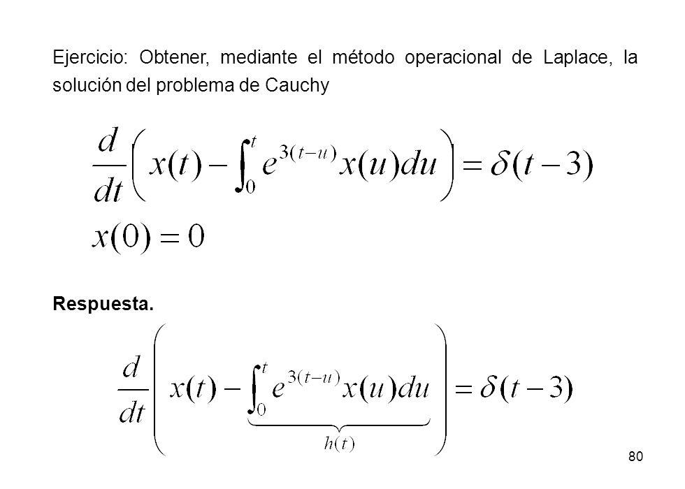 Ejercicio: Obtener, mediante el método operacional de Laplace, la solución del problema de Cauchy