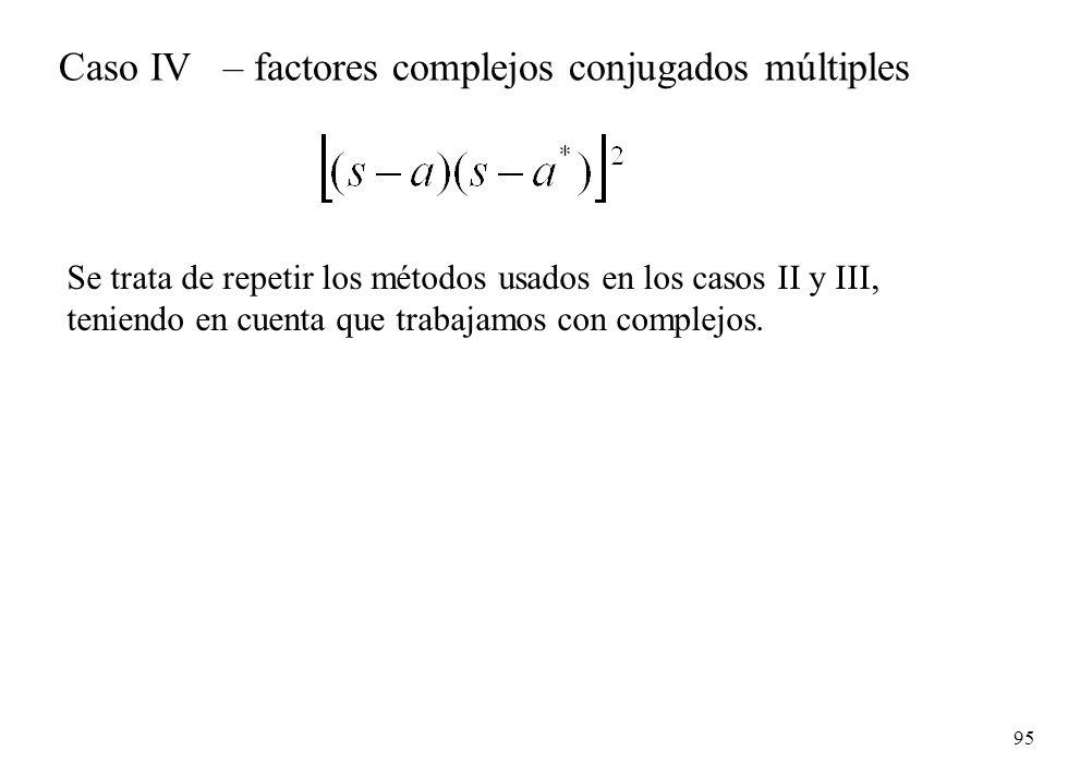 Caso IV – factores complejos conjugados múltiples