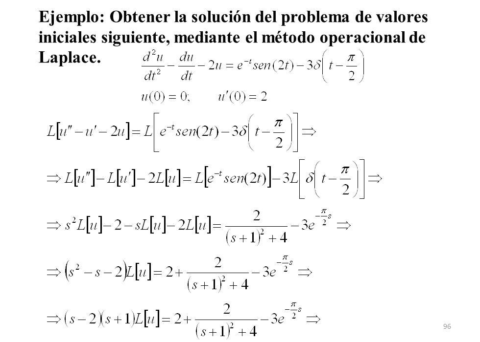 Ejemplo: Obtener la solución del problema de valores iniciales siguiente, mediante el método operacional de Laplace.
