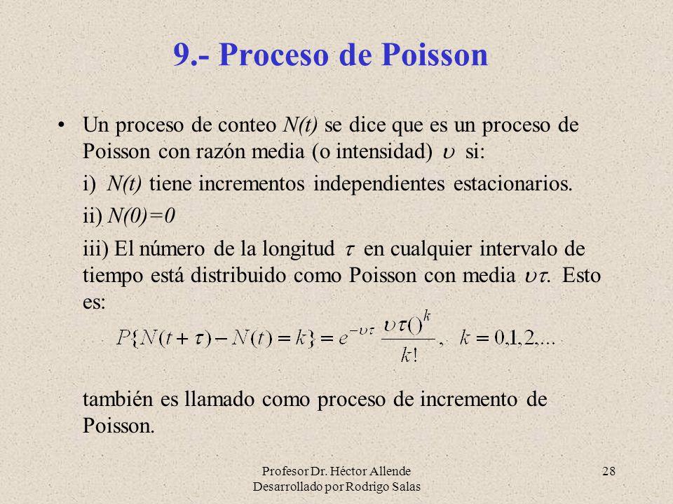 9.- Proceso de Poisson Un proceso de conteo N(t) se dice que es un proceso de Poisson con razón media (o intensidad)  si:
