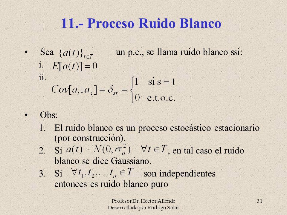 11.- Proceso Ruido Blanco Sea un p.e., se llama ruido blanco ssi: Obs: