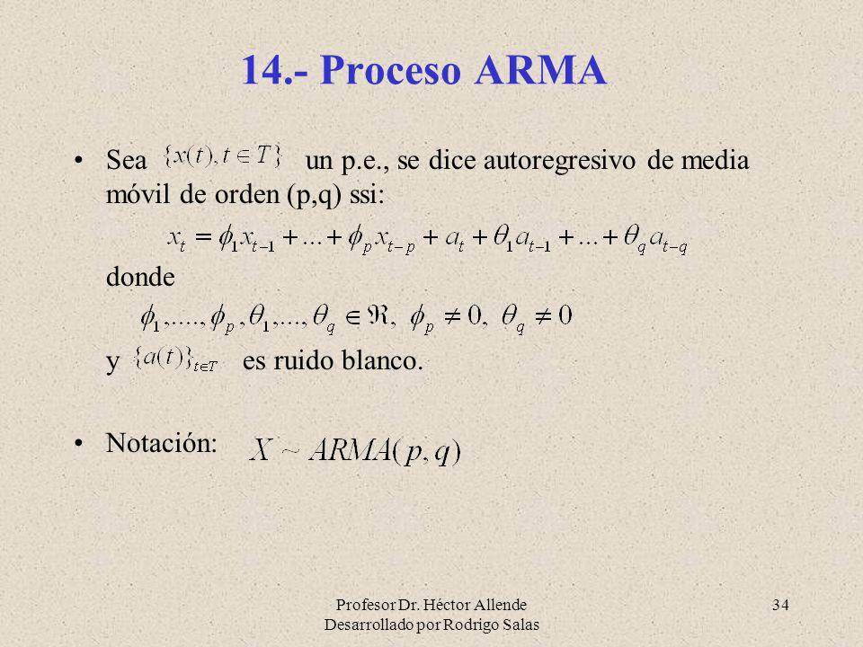 14.- Proceso ARMA Sea un p.e., se dice autoregresivo de media móvil de orden (p,q) ssi:
