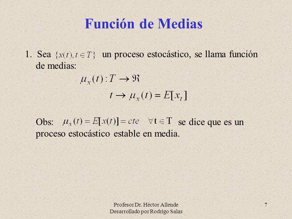 Función de Medias 1. Sea un proceso estocástico, se llama función de medias: