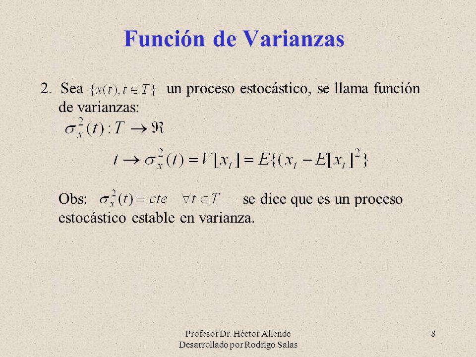 Función de Varianzas 2. Sea un proceso estocástico, se llama función de varianzas: